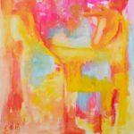 Pystysuuntainen abstrakti maalaus, jonka sommitelma muodostuu hehkuvista kellan-punaisista väripinnoista.