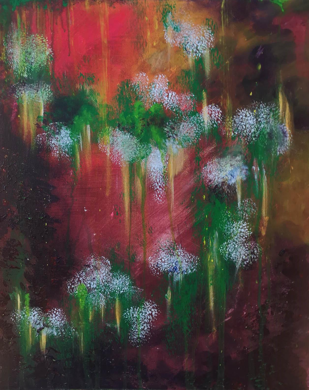 Pystysuuntainen abstrakti maalaus. Taustan tummat puna-keltaiset sävyt korostavat vihreällä ja valkoisella sommiteltuja ilmavia kuvioita.