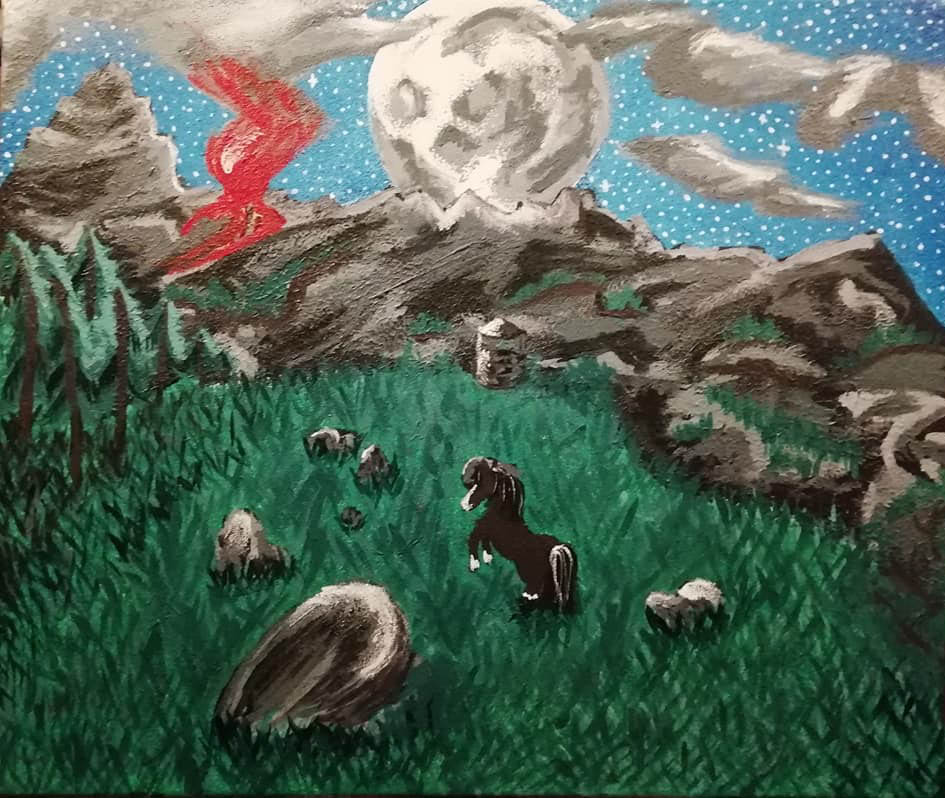 Vaakasuuntaisen maalauksen keskellä on pieni musta hevonen tummanvihreällä niityllä, jota vuoret ympäröivät. Hevosen yllä loistaa valtava kuu.