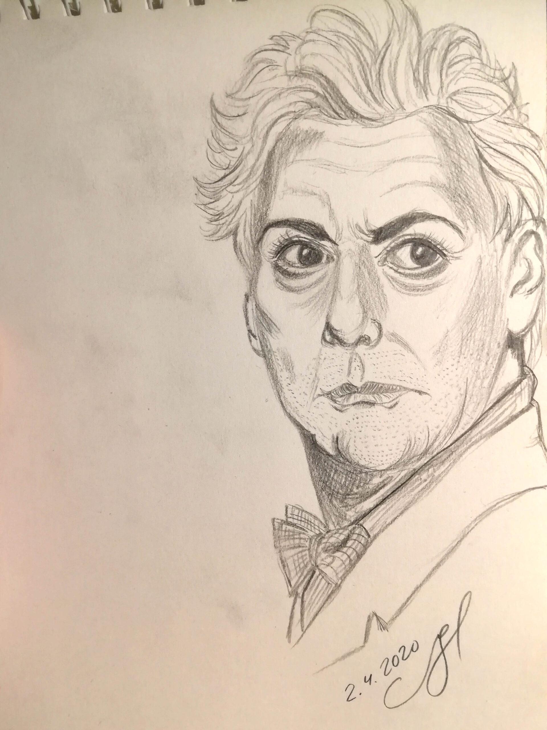 Lyijykynäpiirros miehen kasvoista. Mies tuijottaa oikealle ulos kuvasta. Hänellä on uurteiset kasvot, parransänki ja vakava ilme.