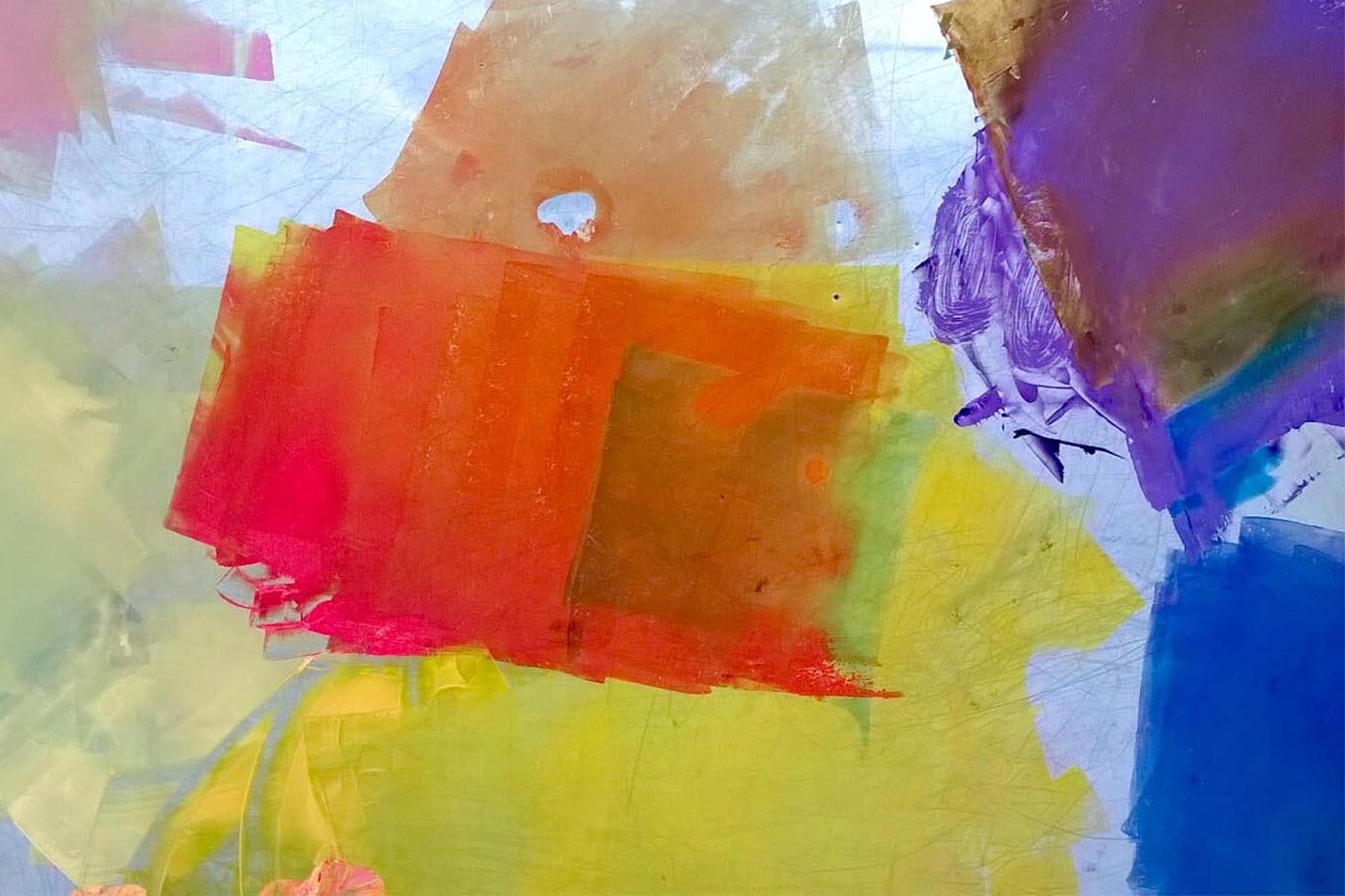 Metallilevylle telattuja paksuja ja kirkkaita syväpainovärejä. Vahvaa oranssia, keltaista ja violettia sekä hentoa pinkkiä ja kellanvihreää.
