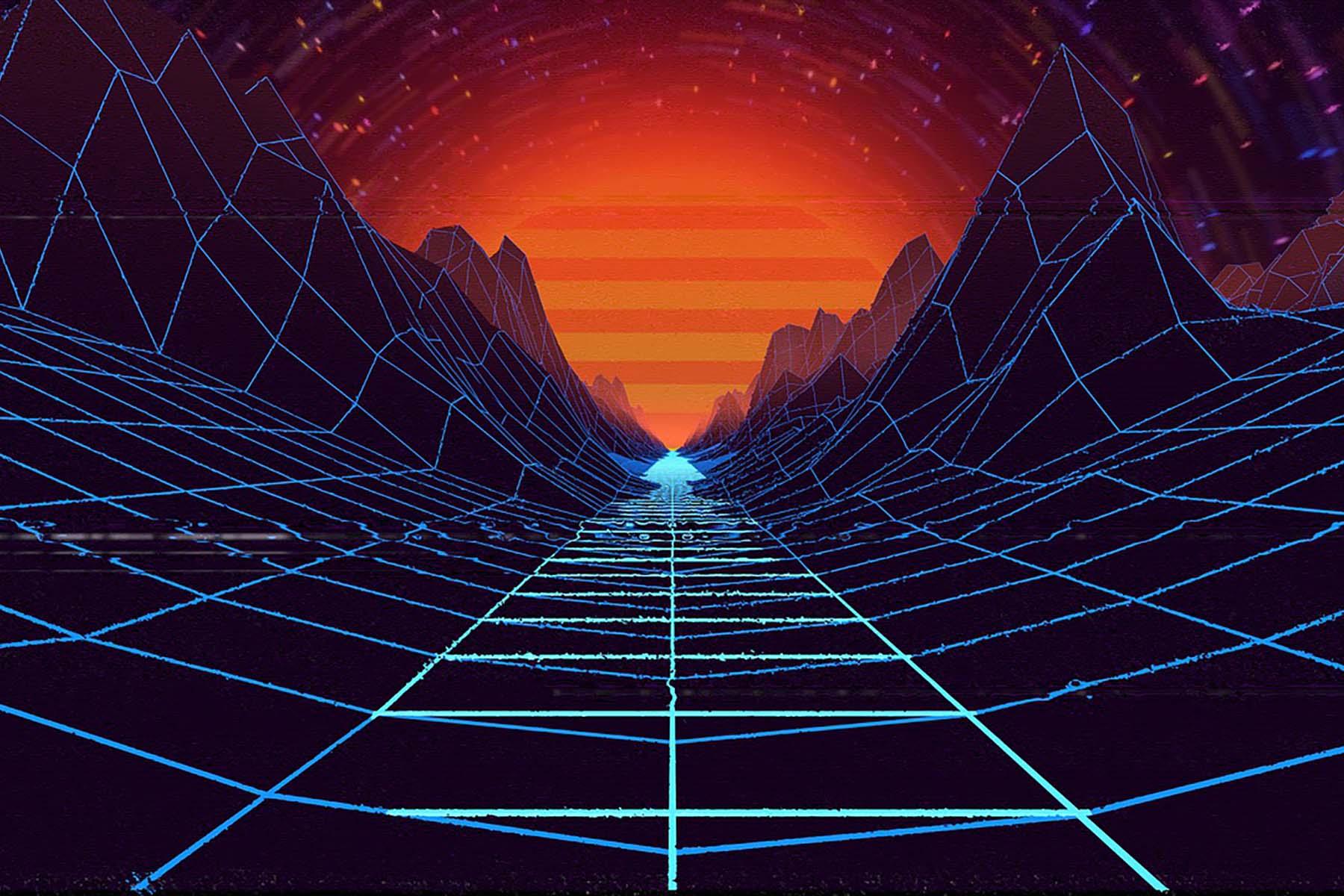 80-luvun tyylinen tietokoneen viivagrafiikalla toteutettu maisema, joka muistuttaa auringonlaskua kanjonissa