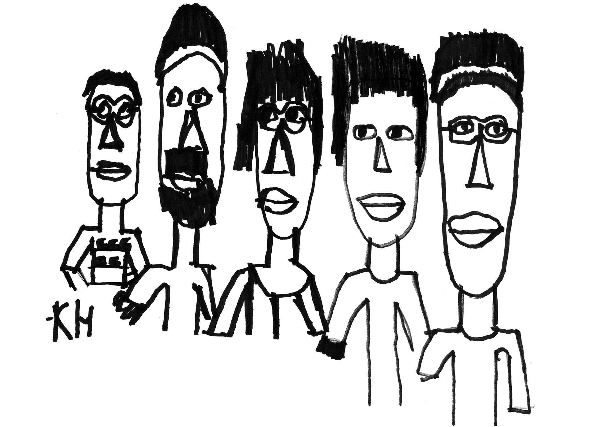 Rento ja naivistinen paksulla mustalla tussilla piirretty muotokuva, jossa Roson työntekijät seisovat rivissä.