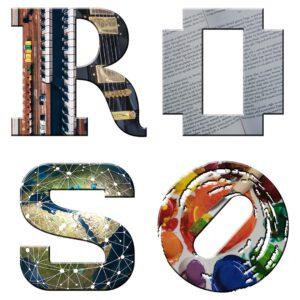 Logon kirjaimet r, o, s, o on sijoitettu kahdelle riville neliön muotoon. R-kirjaimen sisälle on upotettu soitinten kuvia, o-kirjaimen sisällä on tekstiä, s-kirjaimen sisällä kartta ja o-kirjaimen sisällä maalipaletti.