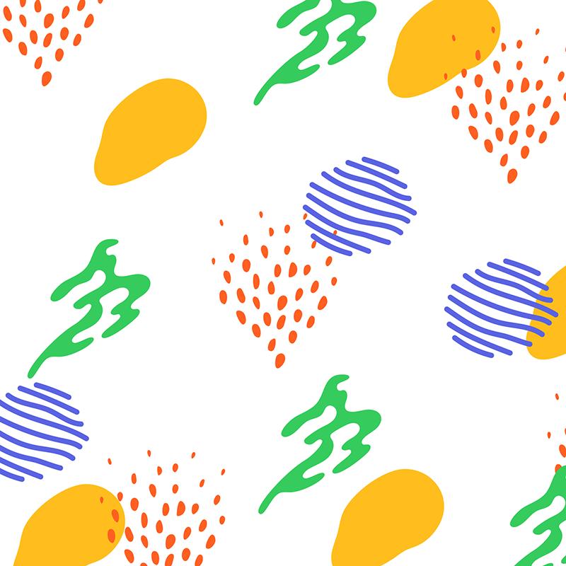 Piirroskuvassa soikeanpyöreät keltaiset, punaiset, siniset ja vihreät väriläiskät muodostavat rytmikkään kuvion.