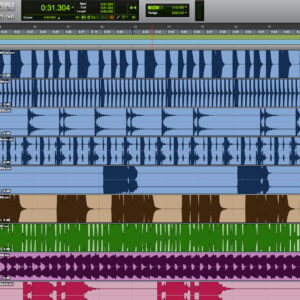Ruutukaappaus sekvensseri-ohjelmasta, jossa näkyy ääniraitoja kuvaavia graafisia käyriä ja säätimiä.