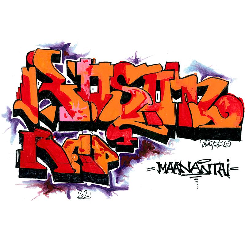 Oranssi-punainen graffitipiirros, jossa lukee koukeroisilla kirjaimilla Roson rap maanantai.
