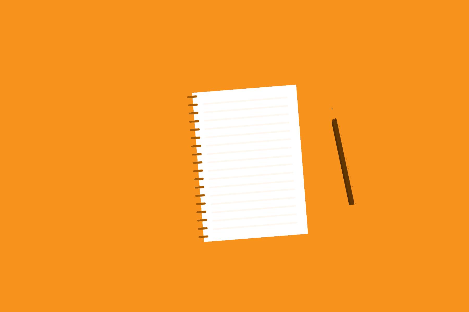 Digitaalisessa piirroksessa muistilehtiö ja kynä oranssilla pohjalla.