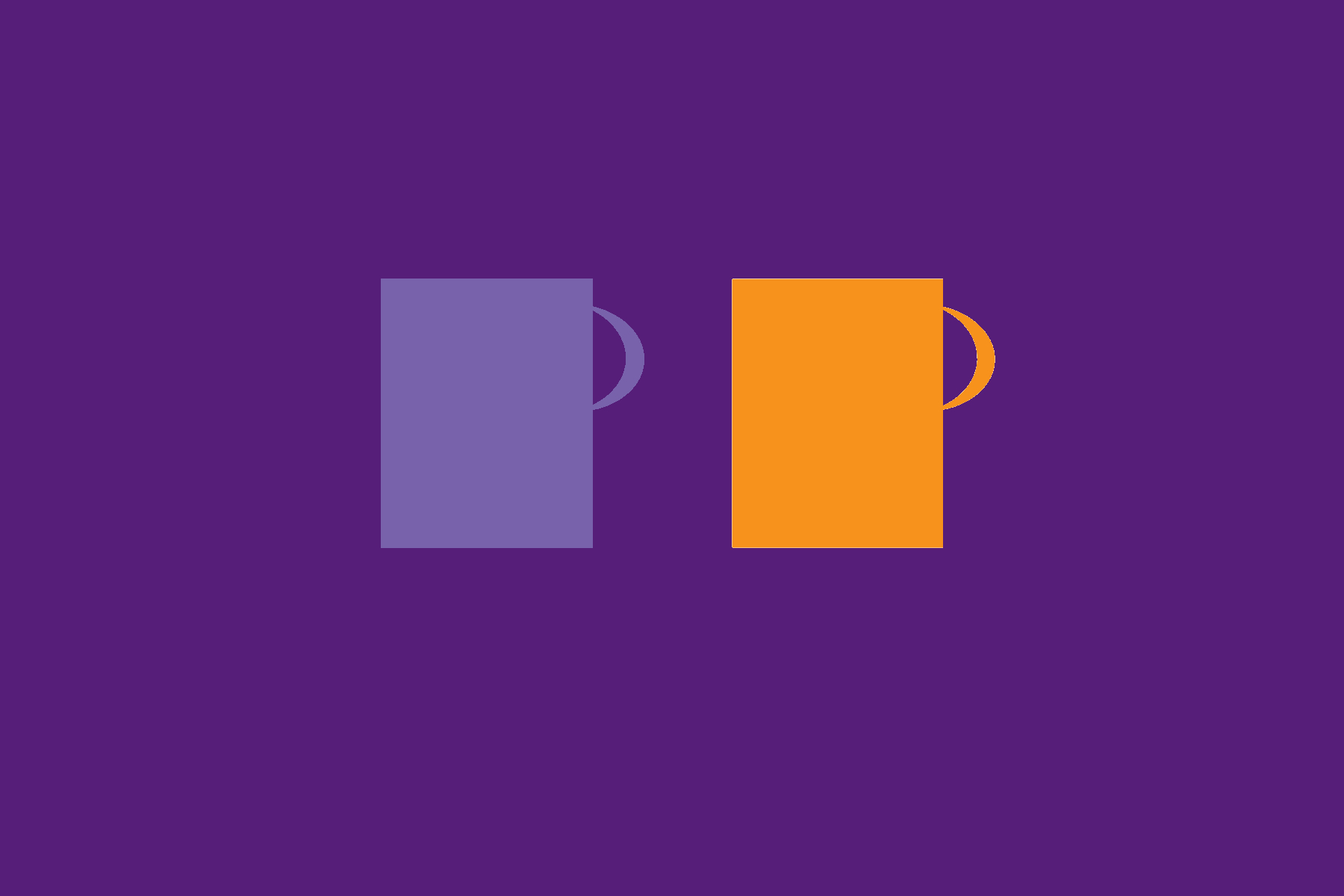 Digitaalisessa piirroksessa kaksi kahvimukia violetilla pohjalla.