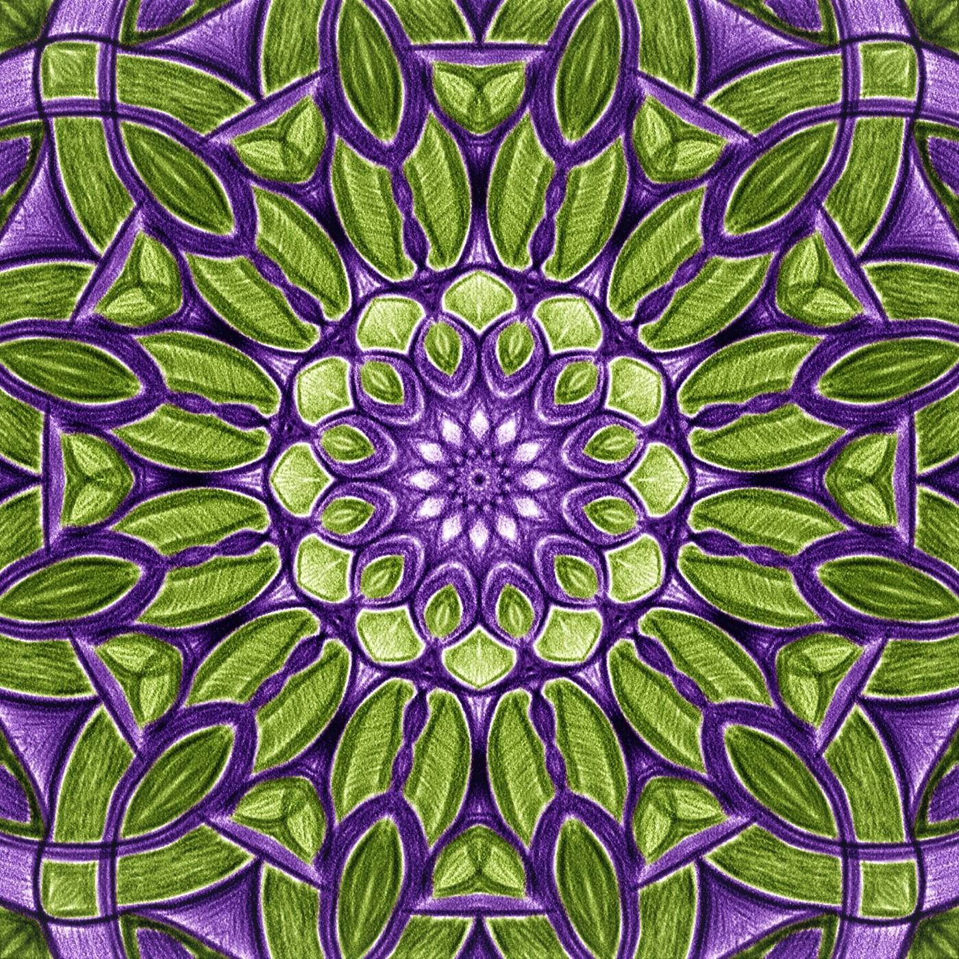 Vihreä-violetti symmetrinen piirros, jossa lehtimäiset muodot toistuvat ja laajenevat ympyrän keskustasta sen ulkoreunaa kohti.