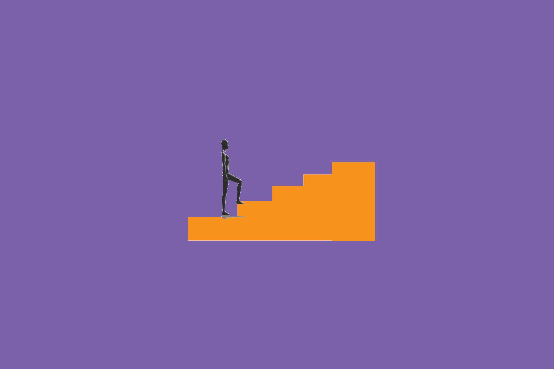 Digitaalisessa piirroksessa ihmishahmo nousee portaita.