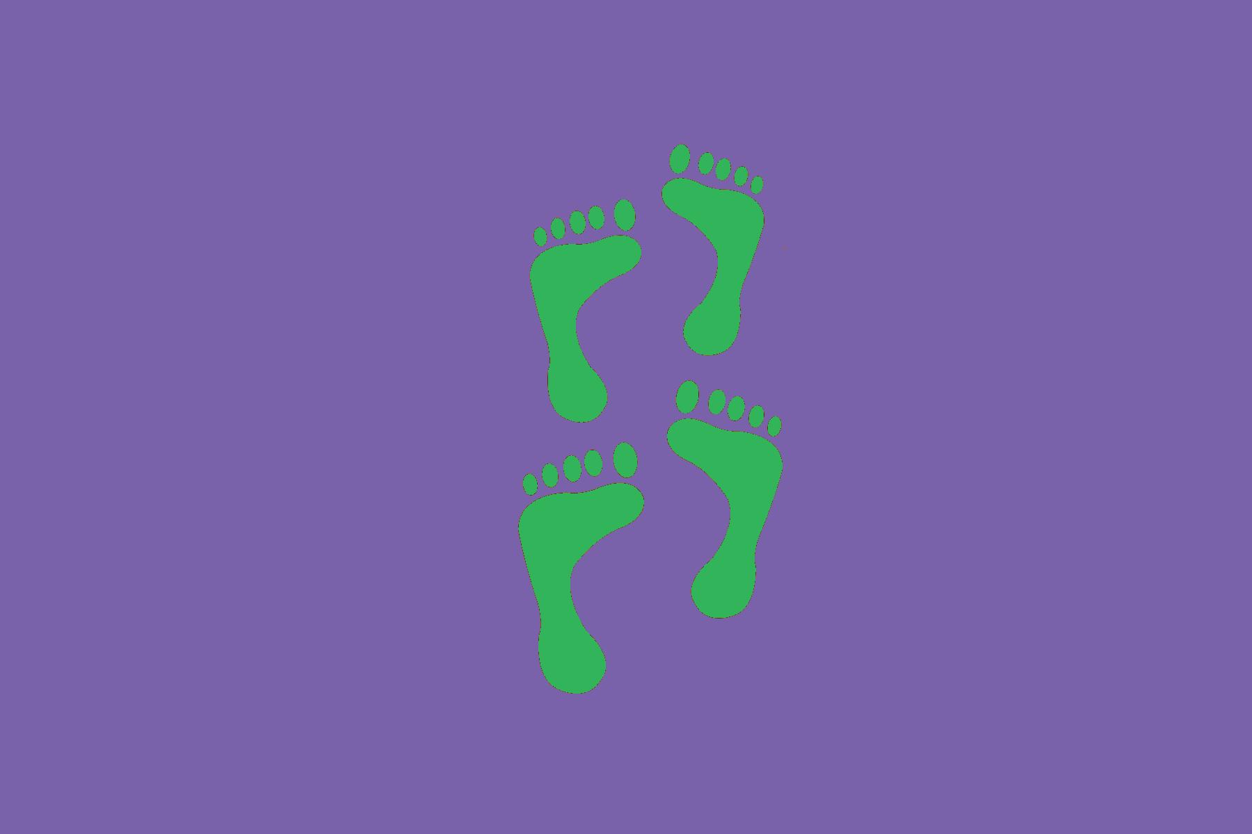 Digitaalisessa piirustuksessa on vihreät jalanjäljet violetilla taustalla.