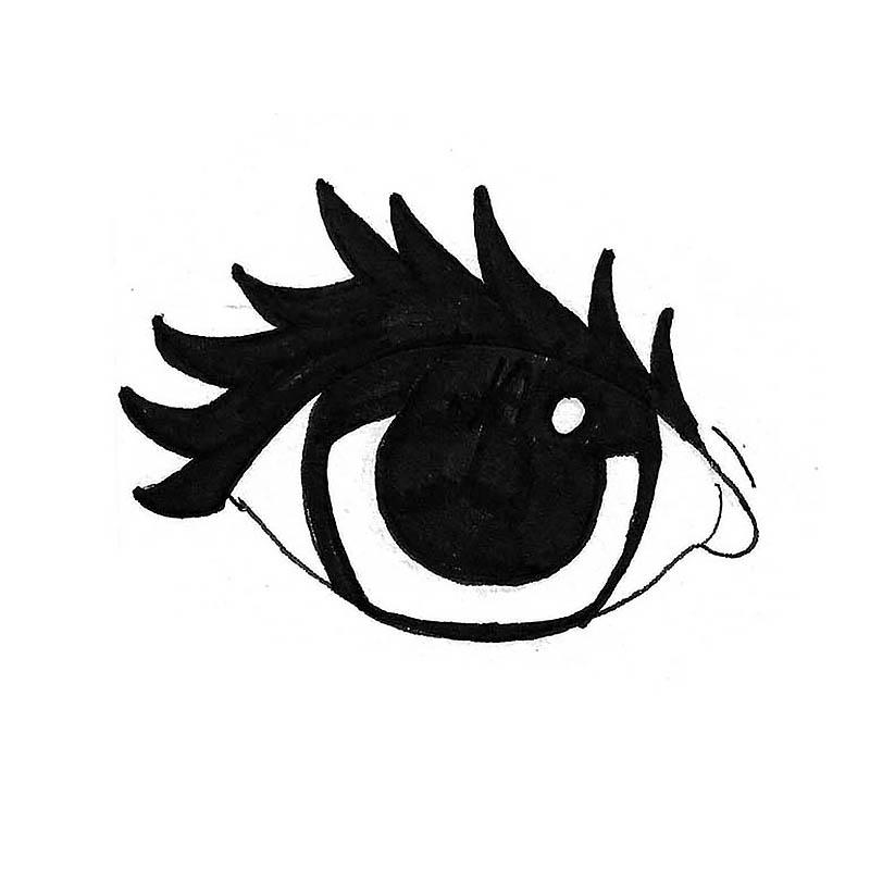 Mustalla tussilla piirretty avoin, kohti tuijottava silmä.