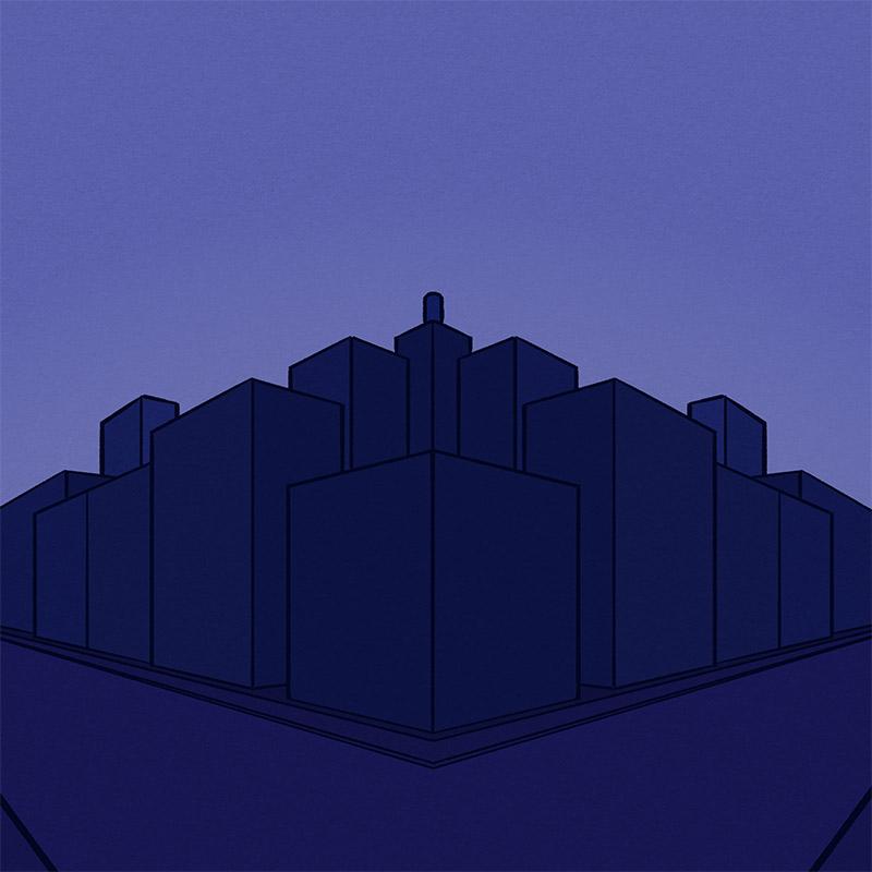 Violetti, pelkistetty perspektiivipiirros korttelin kulmasta ja tienristeyksestä.